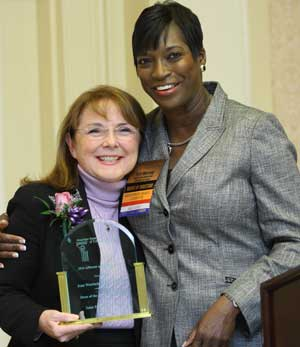 Jean Wortock, Dean of the SPC College of Nursing, receives the 2011 American Association of Critical Care Nurses Advocate of the Year Award from Teri Murray, chairman of the AACN's Government Affairs Committee.